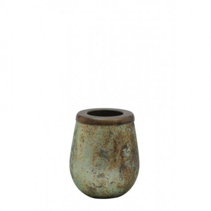 Kinzo Antique Green Tealight Holder 8x10cm