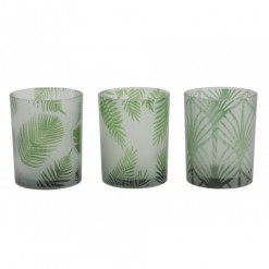 Folhas Tealight Holders-Set 3 10x12.5cm