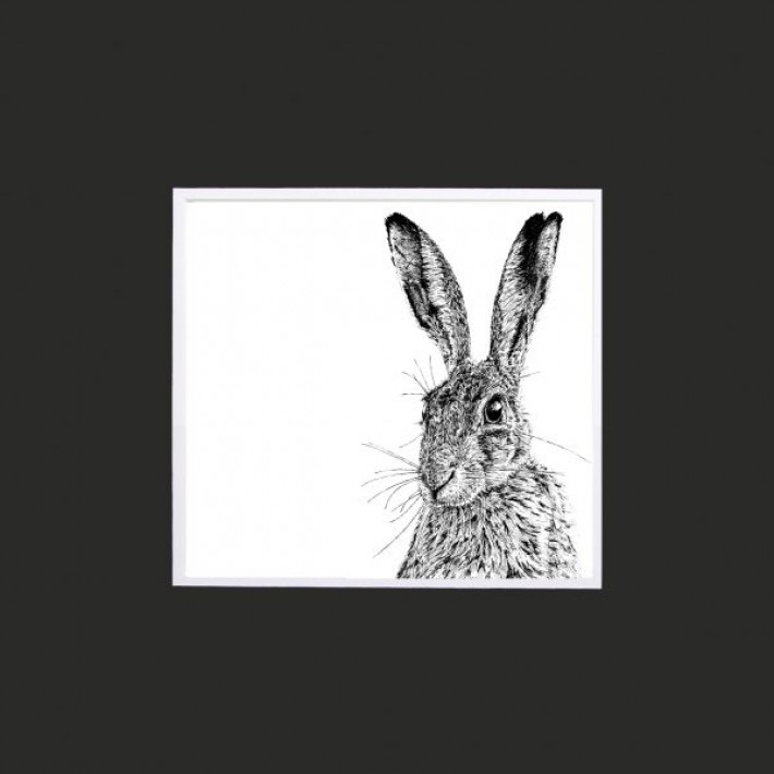 Shy Hare Limited Edition Mounted Print-10""