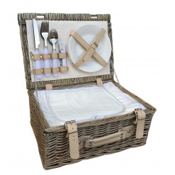 "14"" White Chilled Fitted Hamper-2 Person"