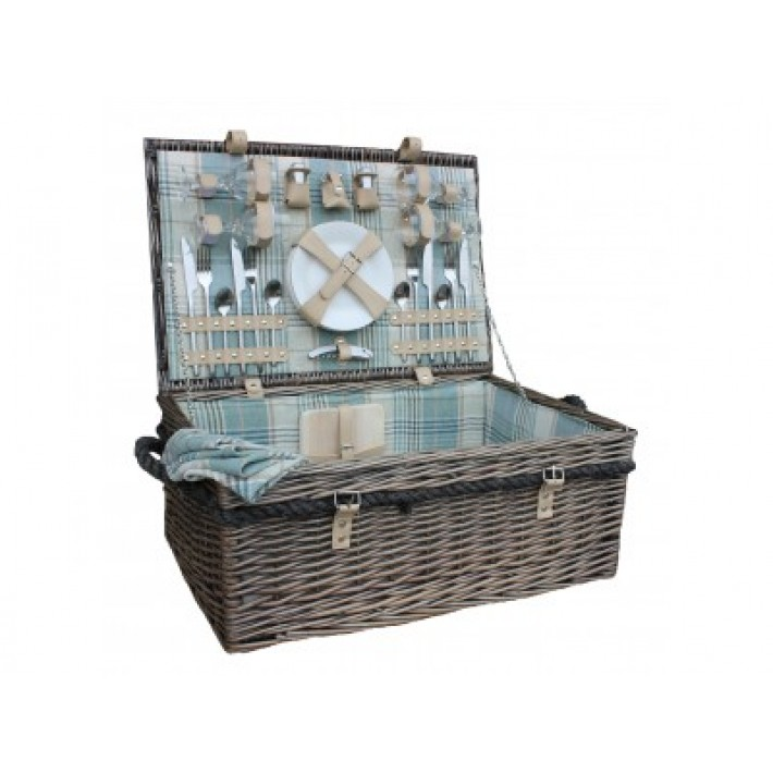 4 Person Deluxe Rope Handled Cream Tartan Hamper
