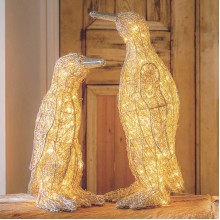 Medium Polished Nickel LED Penguin