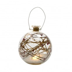 Glass Bauble with Snow and Twigs