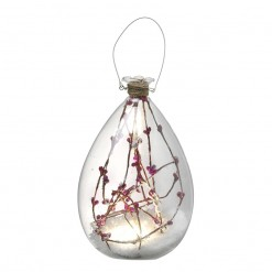 Glass LED Bottle with Snow and Twigs