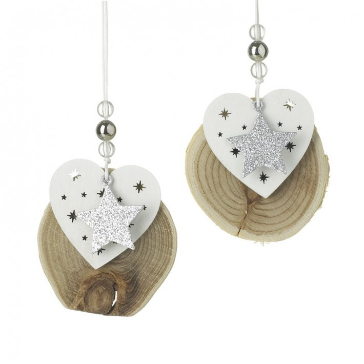 Mix of 2 Heart Star Wooden Hanging Decorations