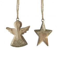 Wooden Angel and Star Mix of 2