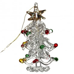 Glass Christmas Tree with Coloured Baubles