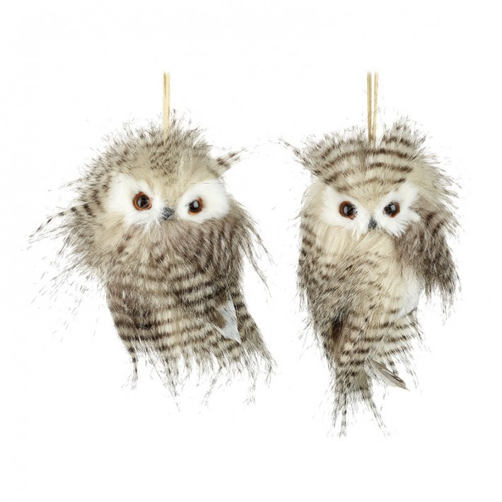 Mix of 2 Hanging Fluffy Birds Decoration