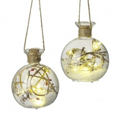 Mix Of 2 Snowy Glass Led Ornaments