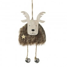 Brown Furry Moose Hanger with Bell Feet