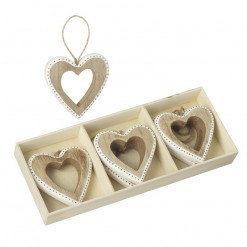 Wooden Hanging Heart Decoration with Box