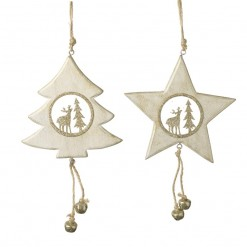 Wooden Tree and Star Hanging Decoration