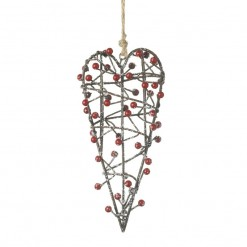 Hanging Wire Heart with Red Berries