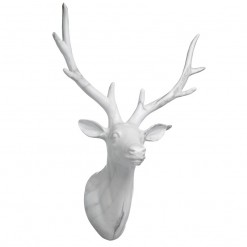Large White Marble Effect Deer Head