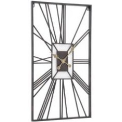 Rectangular Black Skeleton Clock