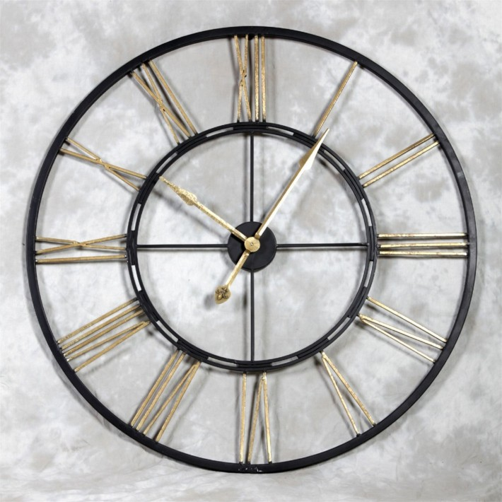 Large Black and Gold Iron Skeleton Clock
