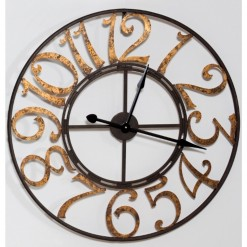 Black Skeleton clock with Large Gold Numbers