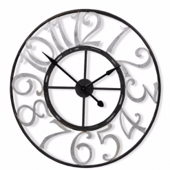 Black Skeleton clock with Large Silver Numbers