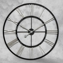 Large Black and Silver Iron Skeleton Clock