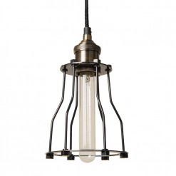 Antique Brass with Black Tube Cage Pendant Light