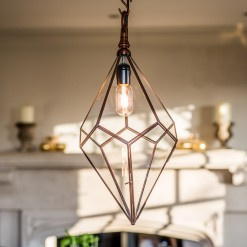 Antique Copper Pentagonal Hanging Light