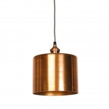 Moderne Large Antique Copper Cylinder Shade and Fitment