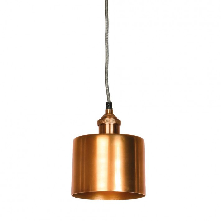 Moderne Small Antique Copper Cylinder Shade and Fitment