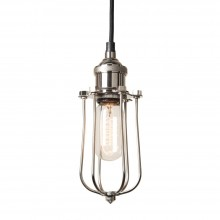 Polished Nickel Pendant Fitment with Radio Valve Cage Pendant Light-EX DISPLAY