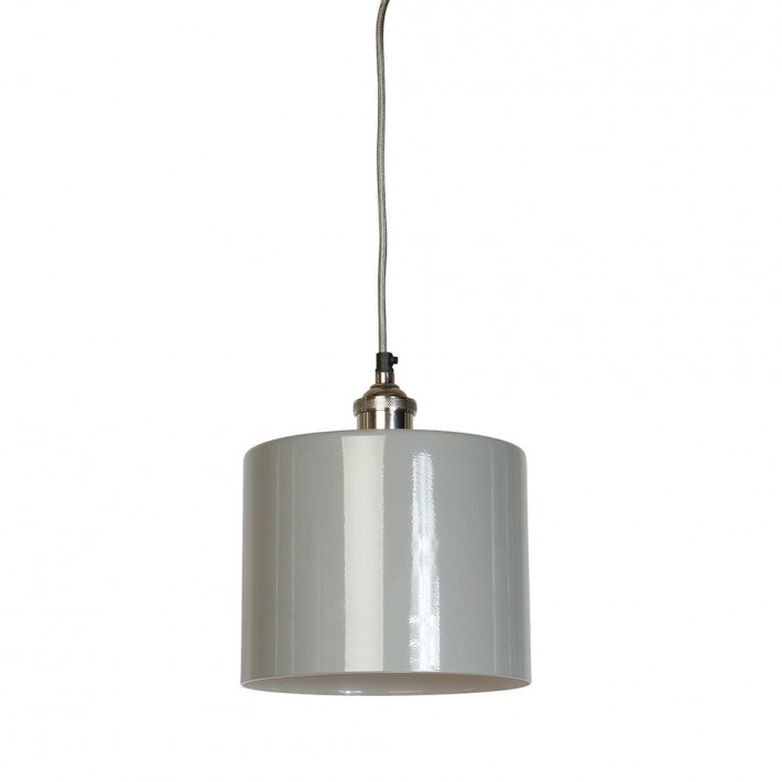 Moderne Large Grey Cylinder Shade with Nickel Fitment