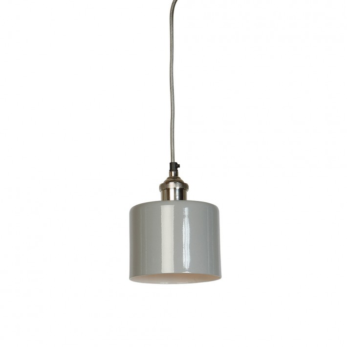 Moderne Small Grey Cylinder Shade with Nickel Fitment