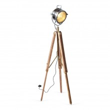 Spotlight Floor Lamp With Wood Tripod