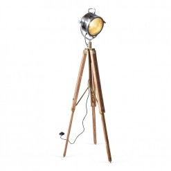 Spotlight Floor Lamp With Wood Tripod