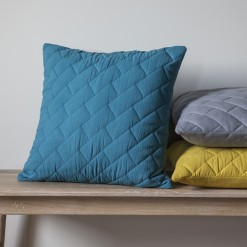 Bricks Quilted Cushion-Teal