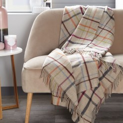 Beige/Multi Windowpane Throw