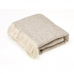 Natural Herringbone Beige Throw