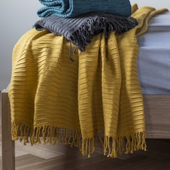 Linear Pleat Throw-Charcoal