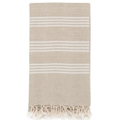 White Linen Stripe Hamam Towel