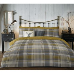 Connolly Check Ocher Brushed Cotton Set