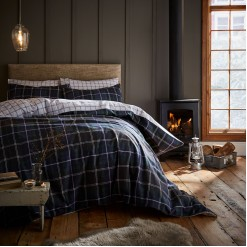Navy Tartan Brushed Cotton Pillowcases-Pairs