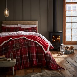 Red Tartan Brushed Cotton Set KING SIZE Including 4 Pillowcases