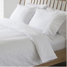 Britta Seersucker White Duvet Cover Set