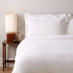 French Linen DOUBLE Duvet Cover - White (inc Pair of Oxford Pillowcases