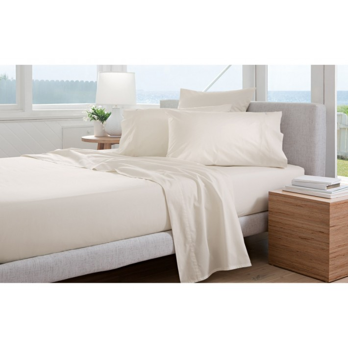 Chalk 300tc Cotton Percale Fitted Sheets