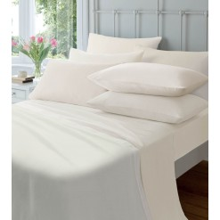 Brushed Cotton Flat Sheets-Cream