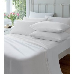 Brushed Cotton Fitted Sheets-White