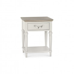 Marseilles Cotton and Oak 1 Drawer Bedside
