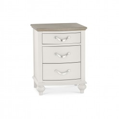 Marseilles Cotton and Oak 3 Drawer Bedside